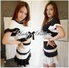 Lady Ribbon Minimal Chic Set ชุดเซ็ทเสื้อครอปและกระโปรง สีขาวดำ