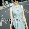Lady Ribbon Embellished and Embroidered Sleeveless Dress