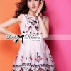 Lady Ribbon Crystal Embellished Cotton Silk Dress
