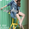 Lady Ribbon Double-Breast Denim Dress with Hood