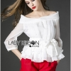Lady Ribbon Chiffon Blouse and Red Hot Pants Set