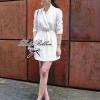 Lady Ribbon ชุดเดรสสม็อคเอว ขาว/ดำ ขายพร้อมเข็มขัด