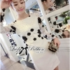 Lady Ribbon Elegant Monochrome Embroidered Lace Dress