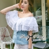 Lady Ribbon Sweet Delicate Lace and Denim Blouse