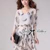 Lady Ribbon Chiffon Dress เดรสผ้าชีฟอง พิมพ์ลายขนนก