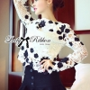 Lady Ribbon Flowery Embroidered Lace Blouse