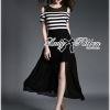 Lady Ribbon Cut-Out Shoulder Striped Maxi Dress
