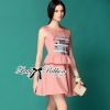 Lady Ribbon Pink Embroidered Peplum Wool Dress