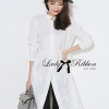 Lady Ribbon Minimal Chic Insert Lace Shirt Dress