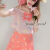 Seoul Secret Pink Salmon Dot and Bow Print Singlet & Skirt
