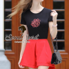 Seoul Secret ชุดเซ็ทเสื้อปักดอกไม้ กางเกงสีแดง