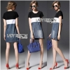 Lady Ribbon Casual Colorblock Denim Dress