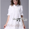 Lady Ribbon Insert Lace Pleated Embroidered Shirt Dress