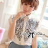 Lady Ribbon Embroidered Laser-Cut Shirt-Sleeved Shirt