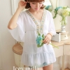IceVanilla Jewel Stitching Blouse