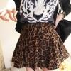 Leopard Trend กระโปรงสั้น ผ้าสักหลาด พิมพ์ลายเสือดาว