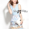 Lady Ribbon Roman Print Dress in Baby Blue