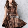 Lady Ribbon British Check Printed Beige Dress