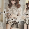 Seoul Secret Creaming Flora Lace Bow Blouse