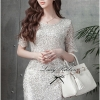 Lady Ribbon Glitter Lace Dress เดรสแขนสั้นผ้าลูกไม้ผสมกลิตเตอร์