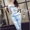 Lady Ribbon Crystal Embellished Denim Ensemble Set