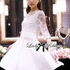 Lady Ribbon Classic White Lace Pleated Dress