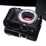 Gariz Leather Half-case for Lumix GF5: Black/Red