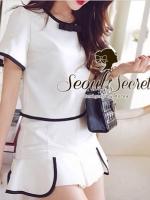 Seoul Secret ชุดเซ็ท เสื้อและกระโปรงกางเกง โทนสีขาวดำ