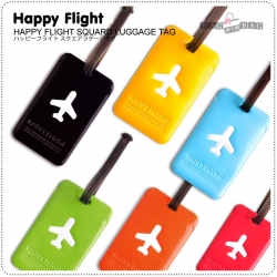HAPPY FLIGHT Square Luggage Tag ป้ายห้อยกระเป๋าเดินทาง