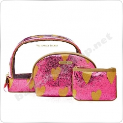 &#x2764️ Victoria's Secret Sparkly Heart Makeup Bags Set