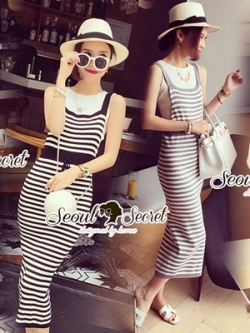 Seoul Secret Chic Stripy Bib Dress