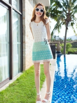 Icevanilla Embroidered 3D Organza See-through Dress