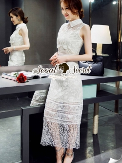Seoul Secret Ivory Organdy Premium Long Dress
