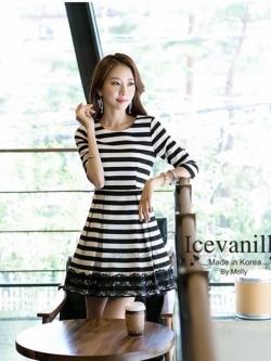 IceVanilla Fall Striped Stitch Lace Dress