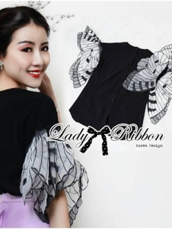Lady Ribbon Butterfly Pearl Button-Down Blouse