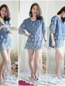 Shiny Jeans Embroidery Mini Dress
