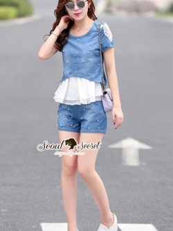 Seoul Secret Pearl Denim Set Chiffon Layer