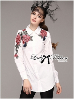 Lady Ribbon Rose Embroidered with Tassels Shirt