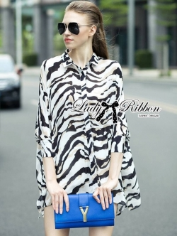Lady Ribbon Zebra Camouflage Printed Shirt Dress