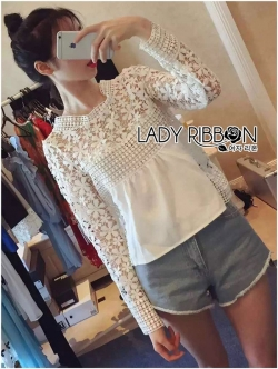Lady Ribbon Sweet Mix Fabrics Lace Blouse