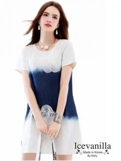 Icevanilla Short-Sleeved Embroidered Denim Dress