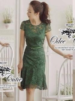 Odee Cutie Lace Dress เดรสผ้าลูกไม้่สีเขียวมรกต แถมเข็มขัด