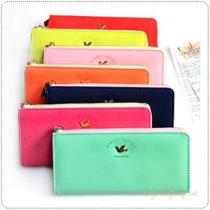 Line Zipper Wallet L