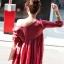 เสื้อผ้าฝ้ายสีแดง มีสายเชือกไขว้ที่อก แต่งไหมพรมถัก thumbnail 8