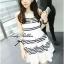Lady Ribbon Stripe Mini Dress มินิเดรสลายขวางขาว-ดำ thumbnail 1