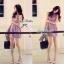 Lady Ribbon Viola Mini Dress มินิเดรสแขนกุด สีม่วง ลุคคุณหนู thumbnail 8