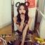 Cherry KOKO เดรสผ้าทอลายหมี ตัดต่อผ้าขนสัตว์ที่ปกคอและกระเป๋า thumbnail 6