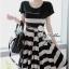 Lady Ribbon Stripe Mini Dress มินิเดรสลายขวางครีม-ดำ thumbnail 7