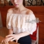 Lady Ribbon เสื้อเปิดไหล่สีขาว แต่งลูกไม้ระบายอก thumbnail 3