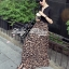 Lady Ribbon V-Neck Black Top and Leopard Pleated Maxi Skirt Set thumbnail 1